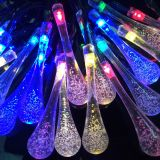 Solar Powered 20 LED String Light Water Drop Christmas Tree Landscape Lamp
