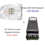 100pcs SMD 5050 Waterproof LED Module (4 LEDs,Metal Shell, L35 x W35mm,)with One 12V 10A DC Power Supply