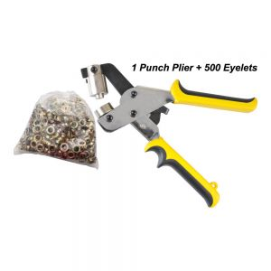 Manual Grommet Tool Eyelet Puncher for Eyelet #4 (10.5mm) with 500 Eyelets Included (Free Shipping)