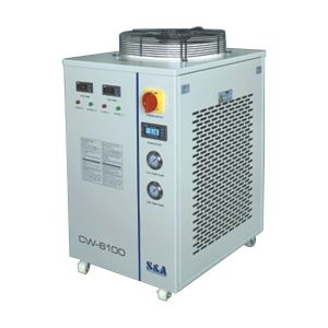 Ving CW-6100ATH Industrial Dual Temp. and Dual Pump Water Chiller for a Single 300W-1000W Fiber Laser Cooling with Heating Function, 1.84HP, AC 1P 220V, 50Hz