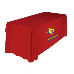 6FT(3) Full Length Sides Round Corner Table Throws with Custom 2 Color Graphic Imprint, Red
