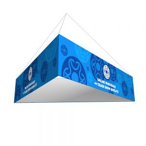 14ft Ceiling Banner Display Trade Show Triangular Hanging Sign (Double Sided Graphic)
