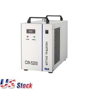 US Stock-AC 1P 110V 60Hz CW-5200DG Industrial Water Chiller for One 130W or 150W CO2 Glass Laser Tube Cooling, 0.93HP