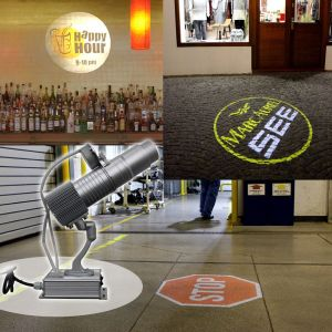 20W Desktop or Mountable LED Gobo Projector Advertising Logo Light (with Custom 2 Colors Rotating Glass Gobos)