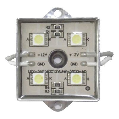 Sample-SMD 5050 Waterproof LED Module (4 LEDs, White Light, Metal Shell, L35 x W35mm)