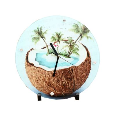 Round Clock Sublimation Blank Glass Photo Frame