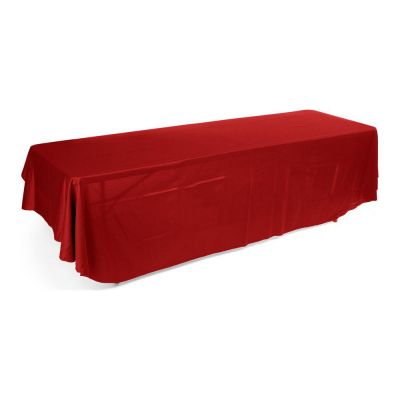 8ft(3) Full Length Sides Rounded Corner Table Throws  Red