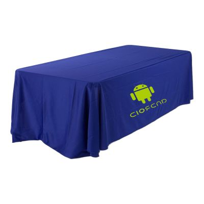 8ft(3) Full Length Sides Round Corner Table Throws with Custom Logo Imprint  On Blue