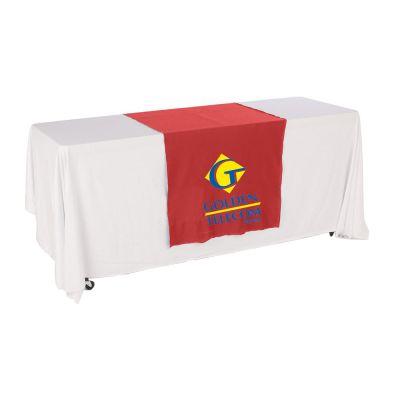 "30""W Table Runner with 2-Color Printing on Red"