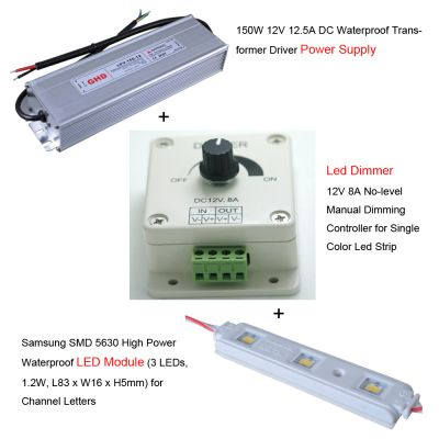 100pcs Samsung SMD 5630 High Power Waterproof LED Module + 1pc 150W 12V DC Power Supply + 1pc LED Dimmer