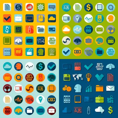 Web Design business and marketing Items Vector Flat Icon Set (Free Download Illustrations)