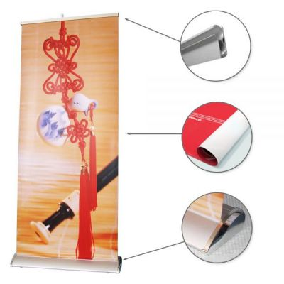 "47.3""W x 79""H Silver Cap Broad Base Roll Up Banner (Graphic Included)"