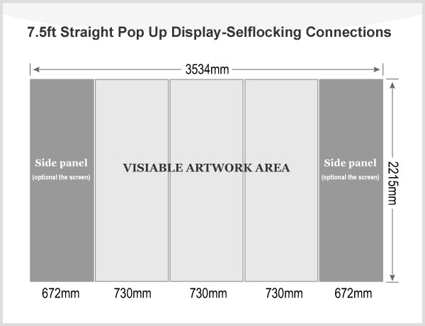 7.5ft Straight Pop Up Display(Graphic included)-Selflocking Connections