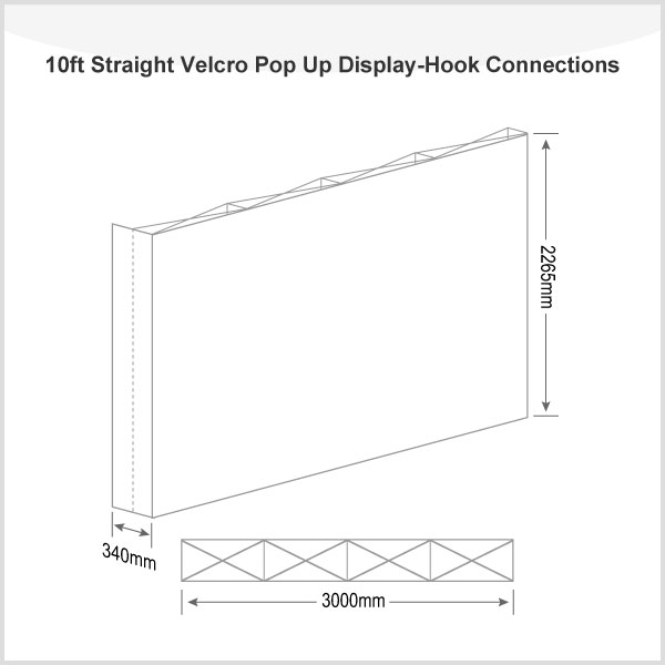 10ft Straight Velcro Pop Up Display(Frame only)-Hook Connections