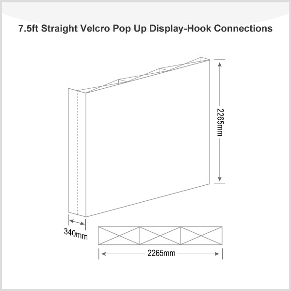 7.5ft Straight Velcro Pop Up Display(Frame only)-Hook Connections
