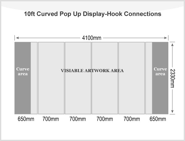 10ft Curved Pop Up Display(Graphic included)-Hook Connections