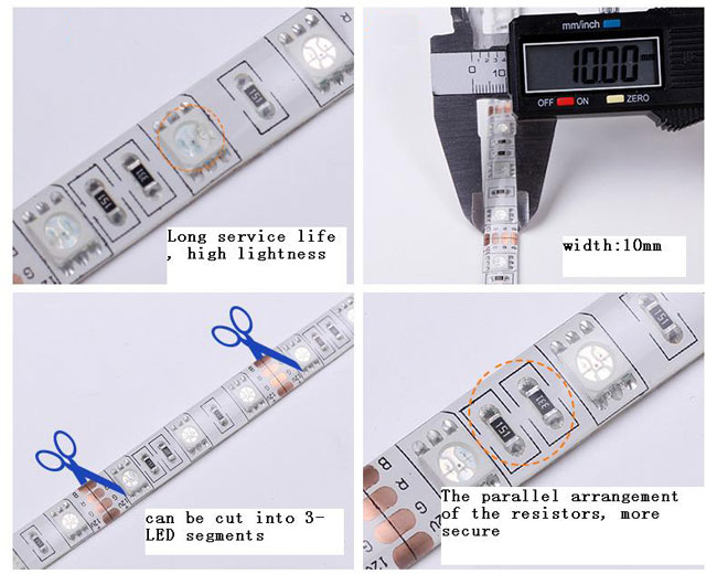 RGB Color Flexible LED Light Strip(60 SMD 5050 leds per meter nonwaterproof) details