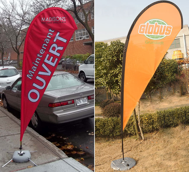 Teardrop Banner with Cross Water Bag Base application