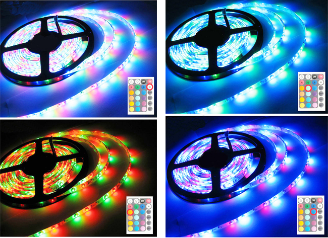 Waterproof RGB Color Chasing LED Strip Light Kit 16.4ft LED Light Strip(300 SMD 3528)+adaptor+Remote details
