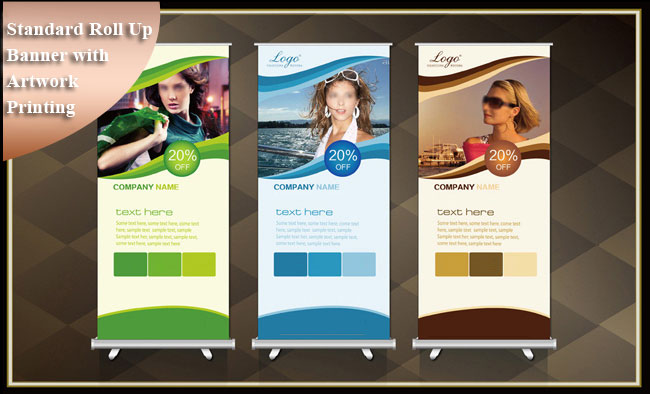 Retractable Standard Roll Up Banner Stand Trade Show Pop