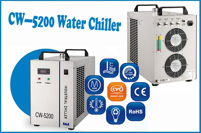 AC 1P 220V 50Hz, CW-5200AH Industrial Water Chiller for a Single 8KW Spindle, Welding Equipment or 2 100W CO2 laser tubes Cooling, 0.71HP