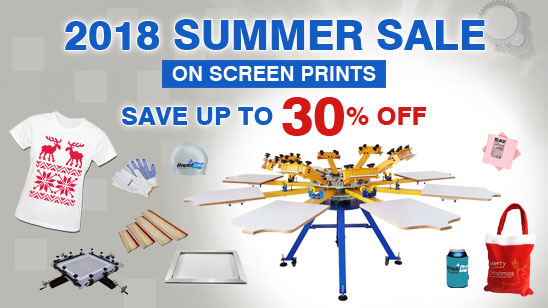 Summer Sale on Screen Printing Products! Up to 30% Off!