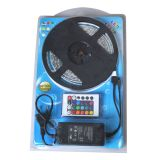Waterproof RGB Color Changing LED Strip Light Kit 16.4ft LED Light Strip(300 SMD 3528)+adaptor+Remote 5m/roll