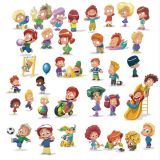 Children Play Games on White Background Vector Stock Illustrations (Free Download Illustrations)
