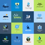 Blue Water Environmental Signs Set Vector Illustrations (Free Download Illustrations)