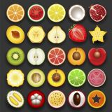 Different Kinds of Fruits Flat Vector Stock Set Illustrations (Free Download Illustrations)