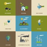 Solar Energy Saving Signs Set Vector Illustrations (Free Download Illustrations)