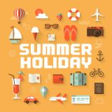 Summer Holiday Flat Vector Poster (Free Download Illustrations)