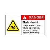 Waterproof Danger Sign-Keep Hands Clear While Operating, Safety Sticker 100x50mm