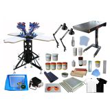 4 Color 4 Station Silk Screen Printing Kit Press Machine Flash Dryer DIY Tools