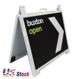 US Stock-2.07ft x 1.67ft A-Frame Plastic Pavement Sidewalk Sandwich Sign Board - WHITE