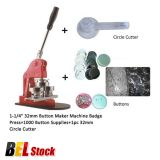 "Belgium Stock, 1-1/4"" 32mm Button Maker Machine Badge Press+1000 Button Supplies+1pc 32mm Circle Cutter"