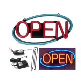 """OPEN"" Animated 22""x 11"" LED Neon Sign with Hanging Chain, Oval - Red & Blue"