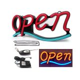"""OPEN"" Animated 21""x 9"" LED Neon Sign with Hanging Chain-Red & Blue"