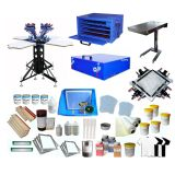 4 Color Screen Printing Full Package Rotary Printer & Flash Dryer / Ink Supplies