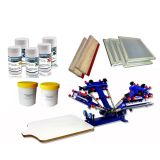 Adjustable 4 Color 1 Station Screen Printing Kit Minitrim Press Printer & Tools