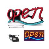 "Demo US Stock-""OPEN"" Animated 21""x 9"" LED Neon Sign with Hanging Chain-Red & Blue"