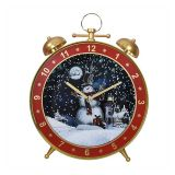 US Stock Lighted Musical Christmas Snowing Lamp Alarm Clock