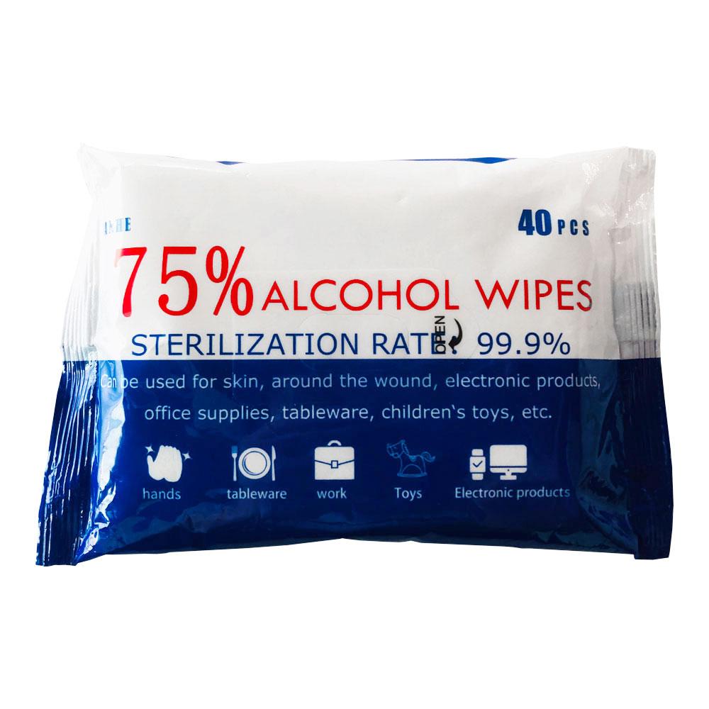 CE FDA Certificate,40pcs 75% Alcohol Antibacterial Wet Wipes 70 Pacrels/Carton