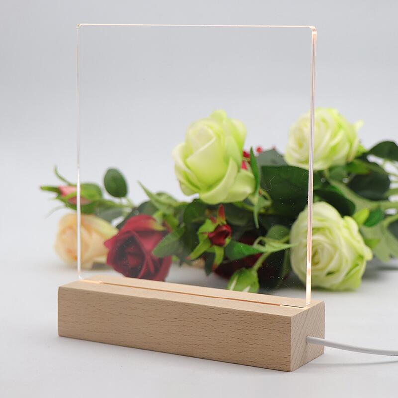 Wooden Led Lamp Base Warm white USB Cable Switch Modern Night Light Acrylic 3D Led Night Lamp Assembled Base+Acrylic