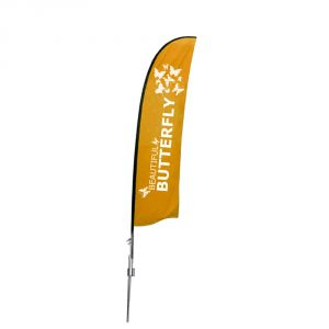 9.8 ft Wing Banner with Spike Base (Single Sided Printing)