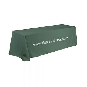 6ft(4) Full Length Sides Rectangular Table Throws with Custom Logo Imprint On Hunter Green