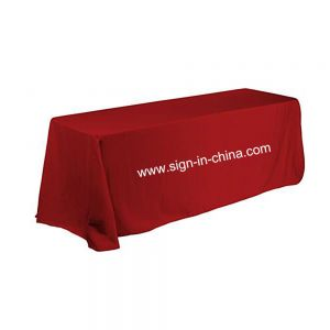 6ft(4) Full Length Sides Rectangular Table Throws with  Custom Logo Imprint On Red