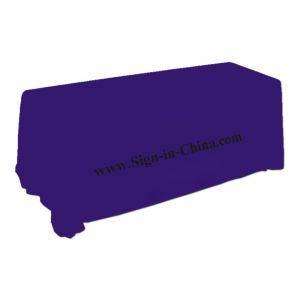 8ft(4) Full Length Sides Rectangular Table Throws with Custom Logo Imprint On Purple