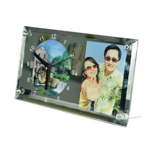 "11.8""x 6.3"" Rectangle Sublimation Blank Glass Photo Frame with Clock"