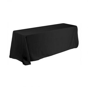 6ft(4) Full Length Sides Rectangular Right Corner Table Throws  Black